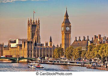 大本鐘, 由于, 小船, 在, 倫敦, england, 英國