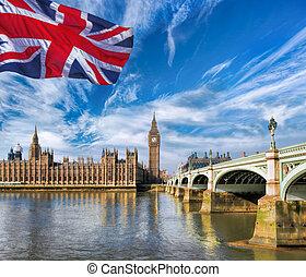 大本鐘, 由于, 旗, ......的, 英國, 在, 倫敦, 英國