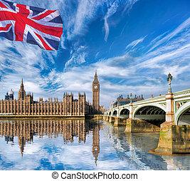大本鐘, 由于, 旗, ......的, england, 在, 倫敦, 英國