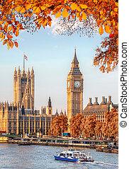 大本鐘, 由于, 秋季离去, 在, 倫敦, england, 英國