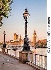 大本鐘, 由于, 隄防, 在, 倫敦, england, 英國