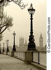 大本鐘, &, 議會的房子, 看法, 在, 霧