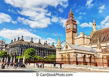 大本鐘, the, 宮殿, ......的, westminster, 以及, portcullis, 房子, 在, 倫敦, the, 英國