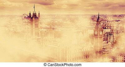 大本鐘, the, 宮殿, ......的, westminster, 在, 早晨, fog., 倫敦, uk.