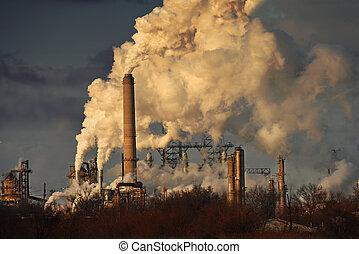 大気汚染, から, 石油精製所