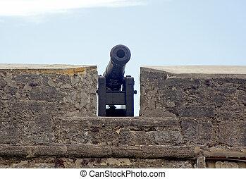 大炮, 以及, 老, 牆壁, ......的, a, 堡壘
