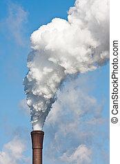 大烟囱, 带, 重, 污染, 对, the, 蓝的天空