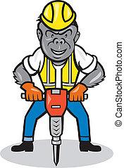 大猩猩, 建设, 卡通漫画, jackhammer