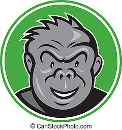 大猩猩, 憤怒, 頭, 環繞, 卡通