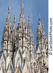 大理石, 尖頂, ......的, the, 米蘭大教堂