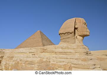 大的斯芬克斯, 在中, giza, egypt.