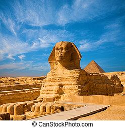 大的斯芬克斯, 身体, 蓝的天空, 金字塔, giza, 埃及