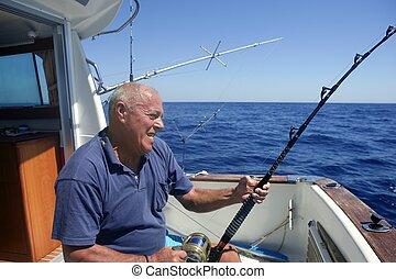 大的游戲捕魚, 釣魚者, 年長者, 運動, 小船