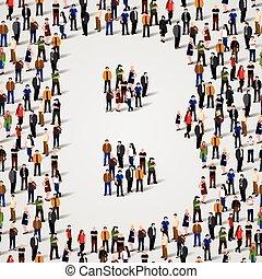 大的组的人们, 在中, 信件b, 形式