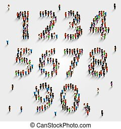 大的组的人们, 在中, 数字, 放置, form.