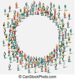 大的组的人们, 在中, the, 形状, 在中, circle.