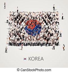 大的组的人们, 在中, the, 韩国, 旗, 形状。