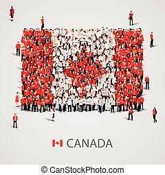 大的组的人们, 在中, the, canada旗, 形状。