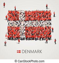 大的组的人们, 在中, the, denmark旗, 形状。