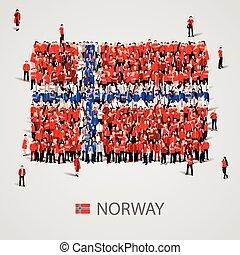 大的组的人们, 在中, the, norway旗, 形状。