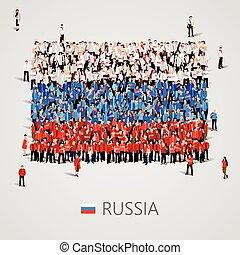 大的组的人们, 在中, the, russia旗, 形状。