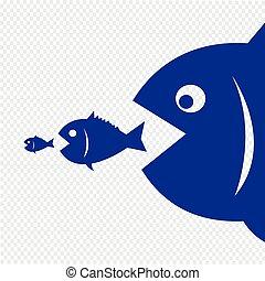大的鱼, 很少, 吃