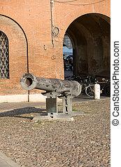 大砲, へ, 守りなさい, 城, の, ∥, este, 家族, 中に, ferrara, -, イタリア