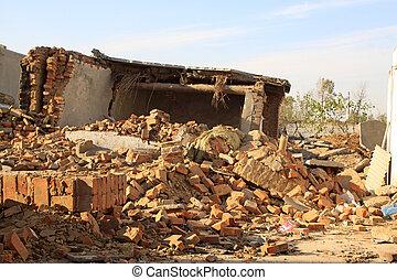 大破, 災害, 壁, 地震, 後で