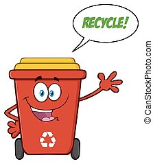 大箱, スピーチ泡, 赤, リサイクルしなさい