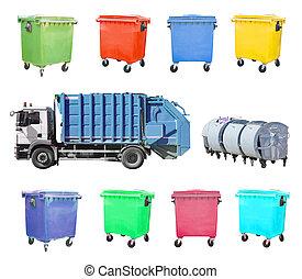 大箱, セット, ごみ, 隔離された, トラック, リサイクルしなさい, 白
