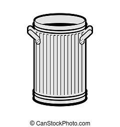 大箱, isolated., wheelie, バックグラウンド。, 缶, dumpster, 白, 屑, 開いた, ...