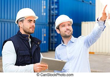 大約, 工作, 工人, 船塢, 講話, 工程師