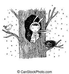 大约, 巢, heart., 故事, 洼地, 树, bunny, 鸟