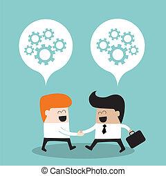 大约, 概念, 商务人士, 成功, 合作关系, 思想, 手摇动, 他们