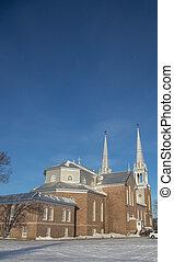 大聖堂, れんが, 冬, ケベック