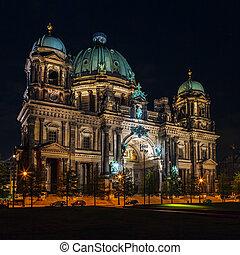 大聖堂, ベルリン, 夜, ドイツ