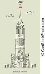 大聖堂, ランドマーク, lodz, stanislausl, アイコン, poland., st.