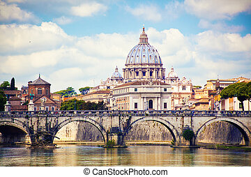 大聖堂, ローマ, ピーター, 聖者, 光景