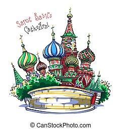 大聖堂, 祝福された, vasily, ロシア, モスクワ