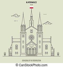 大聖堂, katowice, 復活, ランドマーク, アイコン, poland.