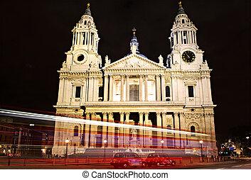 大聖堂, st. 。, paul\'s, ロンドン, 夜