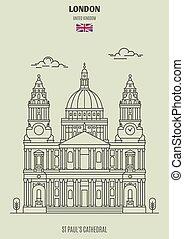 大聖堂, uk., ロンドン, ポール, ランドマーク, アイコン, st.