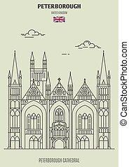 大聖堂, uk., peterborough, ランドマーク, peterborough, アイコン