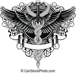 大蛇, ファンタジー, 翼, 剣, パターン