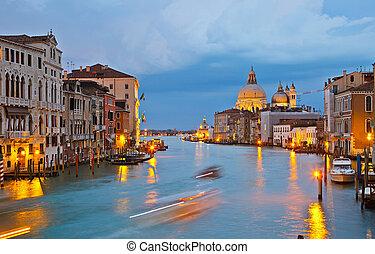 大运河, 在, 晚上, 威尼斯