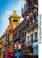 大通り, 交付金, 前方へ, san, ビジネス, chinatown, california., francisco