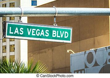 大通り, 通りの 印, vegas, blvd, 道, las
