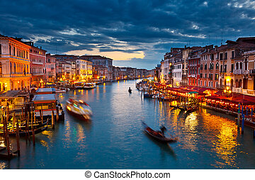 大運河, 夜で, ベニス