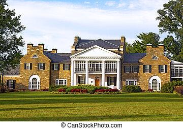 大邸宅, 歴史的, 庭, 形式的