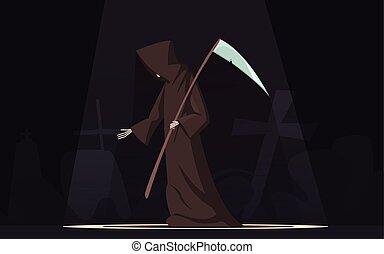大鎌, シンボル, 死, 漫画, イメージ